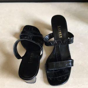 Ralph Lauren black slip on sandals